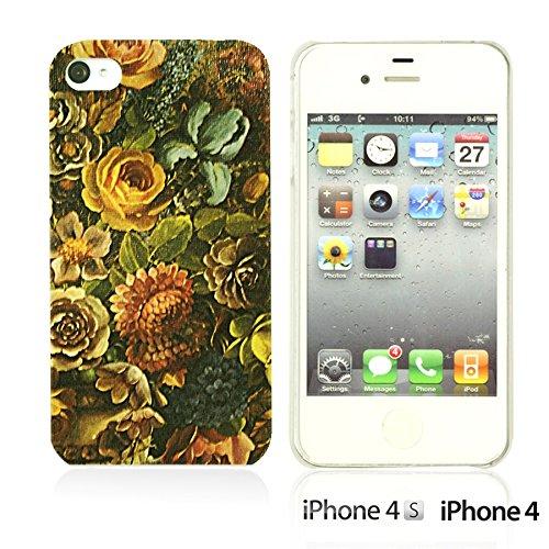 OBiDi - Flower Pattern Hardback Case / Housse pour Apple iPhone 4S / Apple iPhone 4 - Colorful Floral Art Paint Retro Floral Texture