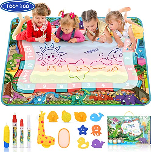 Jojoin Dinosaur Doodle Mat, Water Magic Drawing Mat (100×100cm) with Matching Game & Unique Giraffe Roller Set, Reusable Painting Mat Perfect Early Educational Toys for Kids