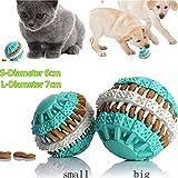 Zyurong Hundespielzeug Ball , Leckerli-Ball, mit Dental-Zahnpflege-Funktion /aus Gummi, Kauspielzeug für Hunde, Welpen, Spielzeug, Training (7 cm)