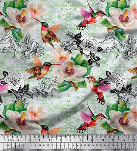 Soimoi Grun Baumwolle Batist Stoff Blätter, Kolibri & Magnolie Blume Stoff Meterware 42 Zoll breit - Kolibri-stoff