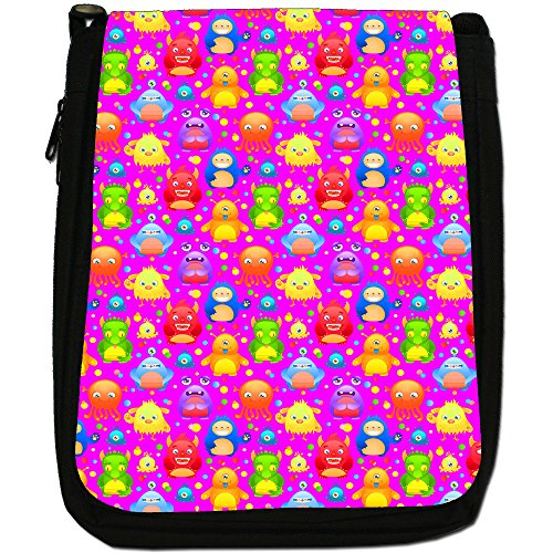 Funny Monsters-Borsa a tracolla in tela, colore: nero, taglia: M Nero (Bright Colourful Monsters)