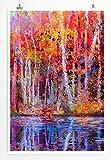 Eau Zone Home Bild - Bild von farbenfrohen Bäumen im Herbst- Poster Fotodruck in höchster Qualität