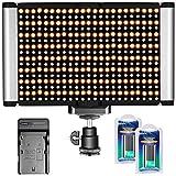 Neewer 280 LEDs CRI 95+ mehrfarbige Dimmbare Kamera LED Video-Licht-Panel mit kaltem Schuh 3200K-5600K Einstellbar und 7.4V 2600mAh Batterien, Ladegerät für Canon Nikon Camcorder DSLR Kameras