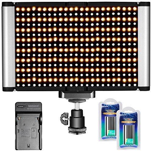 Galleria fotografica Neewer Pannello Luce LED Dimmerabile da 2 Colori 280 Bulbi 3200K-5600K con Standard Coldshoe e Batterie 7,4V 2600mAh, Caricabatterie per DSLR Videocamere Canon Nikon