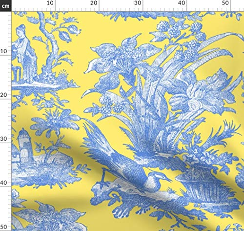 Zitrone, Gelb, Provence, Toile De Jouy, Asiatisch Stoffe - Individuell Bedruckt von Spoonflower - Design von Peacoquettedesigns Gedruckt auf Leichter Baumwoll Twill (Asiatische Stoff Toile)