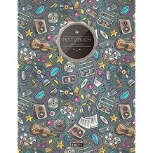 """TULPE Punktraster Notizbuch A4 """"C121 Musikfan"""" (140+ Seiten, Vintage Softcover, Punktkariertes Papier - Bullet Journal, Dickes Notizheft, Skizzenbuch, Tagebuch, Gepunktete Seiten, Dot Grid Notebook)"""