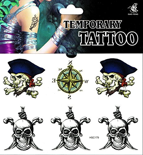 Fake Tattoo einmal tatoo tatto temporary Totenkopf Piraten (Fake-tatoo)
