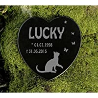 Gedenkstein Katze Gravur Herz Grabplatte Marmor