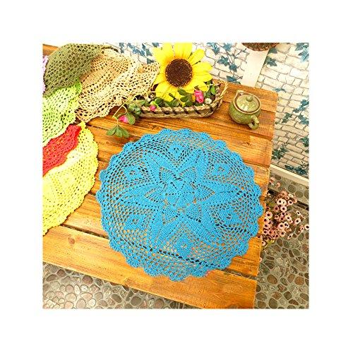 aspire 18 Pouces Campagne Rurale décorative Coton Couverture Serviette Dentelle Table napperons napperons Blue