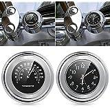 'ICT Ronix universal motorraduhr Reloj Relojes manillar de motocicleta Termómetro Temp 25/22M Negro Aluminio 7/8(22mm) brazo