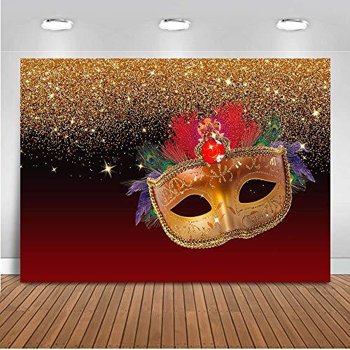 Mehofoto Black Gold und Burgund Maskerade Thema Party Hintergrund 7 x 5 ft Vinyl rote Maske Karneval Maske Foto Kulissen Tanzparty Maskerade Geburtstag Fotografie Hintergrund