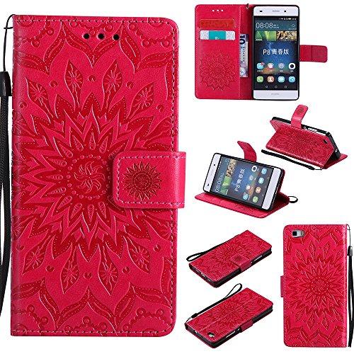 Für Huawei P8 Lite Fall, Prägen Sonnenblume Magnetic Pattern Premium Soft PU Leder Brieftasche Stand Case Cover mit Lanyard & Halter & Card Slots ( Color : Pink ) Red