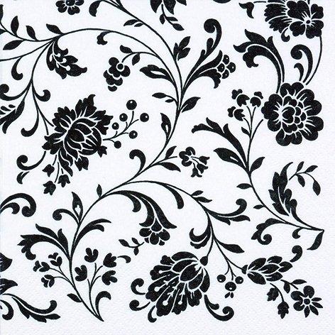 20 Serviette Blumen Motiv schwarz weiß Trauer Bestattung Trauerfeier zeitlos modern 33 x 33cm