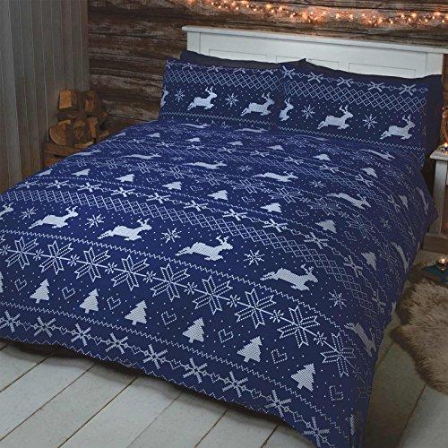 Just contempo set copripiumino natalizio con stampe di animali, in poliestere e cotone, cotone, nordic blue, singolo