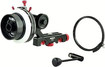 FILMCITY Follow Focus with Hard Stops Flexible Gear Belt Speed Crank 15 mm Rod for Camera DSLR Shoulder Mount Rig (HS-2)