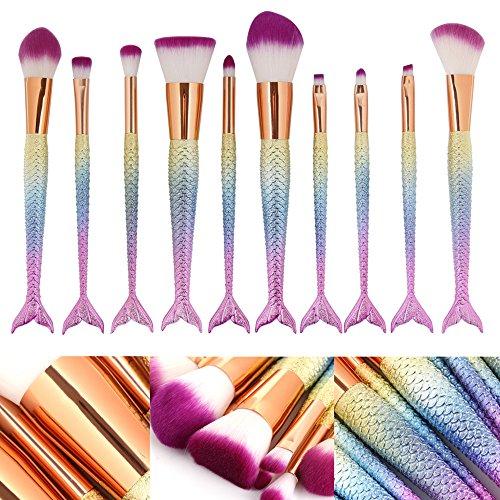 Efforty 10pcs Mermaid Makeup Brush Set Synthetic Kabuki Foundation Blending Blush Eyeliner Face Powder Brush Makeup Brush Kit Beauty Cosmetic Tools
