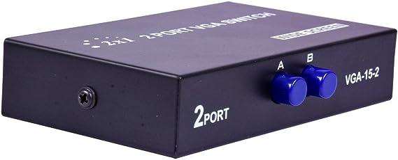 Tavakkal® 2 Port Manual VGA Switch (Black)