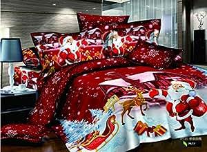Home Textile Parure de lit 3D rouge Père Noël, cadeau de Noël Lot de 4lit, reine taille Doudou Non Inclus