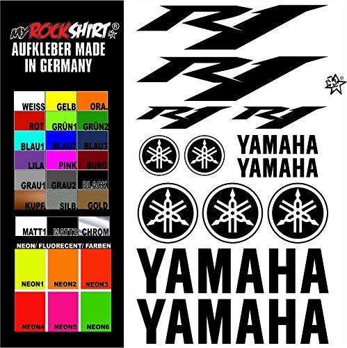 """Preisvergleich Produktbild myrockshirt® Aufkleber Set """"matt weiss"""" Yamaha r1 Aufkleber Set Sticker Decal kit 4726 Motorrad Tuning Set Bike aus Hochleistungsfolie ohne Hintergrund Profi-Qualität viele Farben zur Auswahl MADE IN GERMANY"""