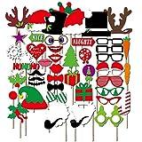 RUNFON 50PCS DIY Kit Morceau de Photobooth Noël Accessoires Fête de mariage d'anniversaire Photo booth Dress Up Accessoires Vêtements de fête sur bâtons (photobooth noël)