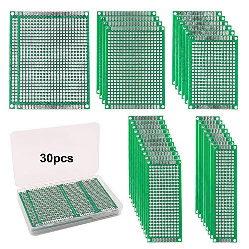 FULARR® 30Pcs Premium Doppelseitig Prototyp PCB Board Kit, 5 Größen Leiterplatte Platine Universal Board, Doppelseitig Lochrasterplatte Lochrasterplatine für Arduino DIY Löten【MEHRWEG】 -