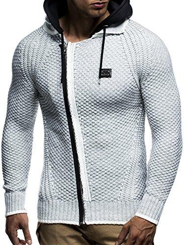 LEIF NELSON Herren Kapuzenpullover Strickjacke Hoodie Pullover mit Kapuze Sweatjacke Sweater Zipper Sweatshirt LN7055 Ecru-Grau
