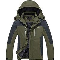 KEFITEVD Waterproof Snowboarding Jackets for Men Multi Pockets Warm Fleece Fishing Ski Raincoats with Detachable Hood