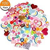 100 Pieces Slime Charms Cute Set for Slime Assorted Fruit Candy Sweets Flats Back Cabocons for Craft Making, Ornament Scrapbooking DIY Crafts