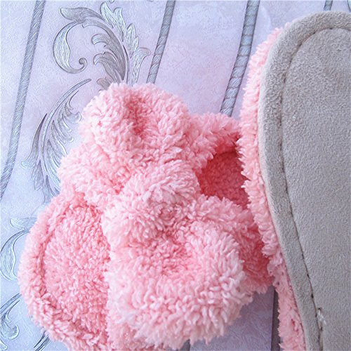 Eastlion Frauen und Mädchen Home Boden weichen bequemen Verschleiß Indoor Anti-Rutsch Baumwolle Bogen Hausschuhe Schuhe,Einheitsgröße Rosa
