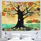 asddcdfdd Art Ölgemälde mit Baum des Lebens, Blumenmuster aus an der Wand Kunst leichtes Polyester Stoff Cottage Dorm Wall Art zu Hause, Dekoration, 90x 60cm, Textil, 80x60(in)