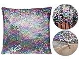 Pailletten Kissen | mit Füllung und Bezug | Glitzerkissen | Tausende Designmöglichkeiten und Farbwechsel | Maße: 38 cm x 38 cm | Kissen von ALSINO (Ki-123 bunt matt silber)