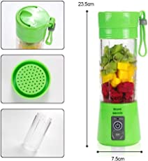 New Portable USB Electric Juicer with Sipper,Blender with Power Bank 2000 Mah - 380Ml Juicer Cup (Multi Colour)