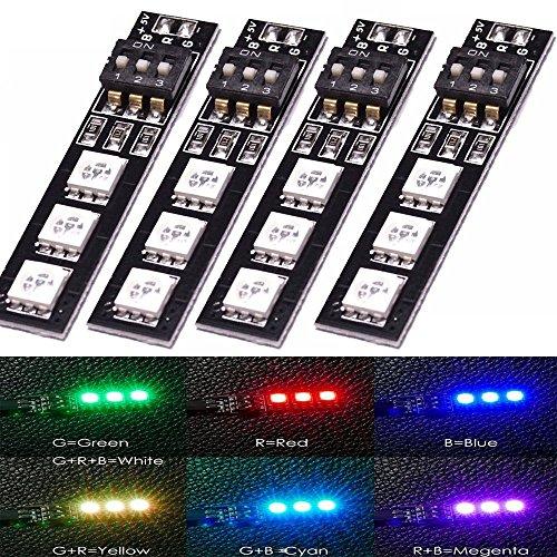 4PCS Matek 7 Colors RGB 5050 5V LED Float on for ZMR250 QAV250 250 280 mini quad RC FPV Quadcopter by LITEBB