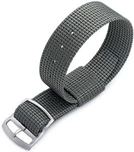 Cinturino Zulu G10 20mm o 22mm MiLTAT RAF N7 3-D Cinturino in nylon intrecciato, grigio militare, fibbia scorrevole con lucchetto