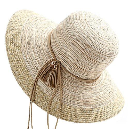 Neue Hut Frau Frühling Koreanische Trend Wilden Sonnenschirm Reise Sonnen Coole Faltende Kappe Strand Cap (4 Farben Erhältlich) ZHAOYONGLI (Farbe : Beige, größe : M(56-58cm))