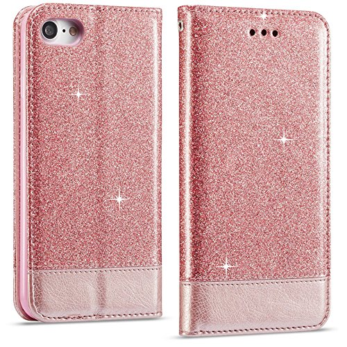 LCHULLE for iPhone 8 Leather Case, Premium Bling Glitter Splice Hit Color Flip PU Leather Wallet Case, Soft Silicone Cover iPhone 7 Protective Girly Case Cover Rose Gold