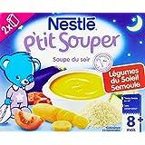 Nestlé Bébé P'tit Souper Soupe du soir Semoule Légumes dès 8 mois 2 x 250 ml - Lot de 6 (12 briques)