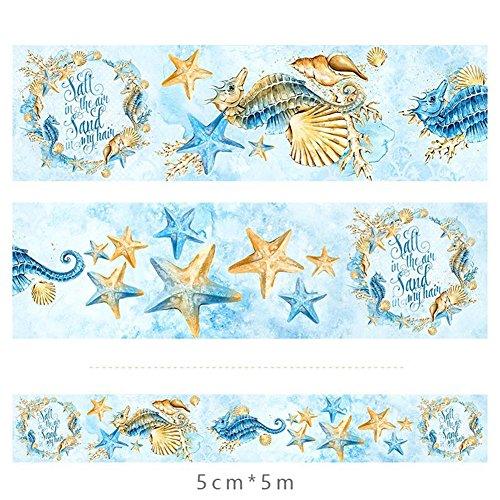 CAOLATOR Masking Klebeband Bunt Dekoband Süße Marine-Stil Schloss Papierband Blau Papier Masking Tape Dekoband Aufkleber Papier Dekorative Bunten DIY Sticker size 5cm*5m (#4) -