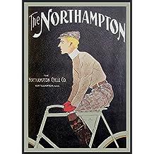 Vintage ciclos de ciclismo NORTHAMPTON 250gsm cuadro decorativo brillante A3 de póster