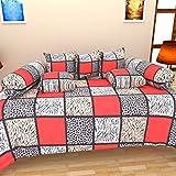 #9: Hargunz Cotton 8 Piece Diwan Set - Red