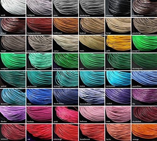 INWARIA Lederband Ø 1 mm Lederriemen Rindsleder Echt Leder rund Lederschnur, LB-1,1 mm,Blau,5 Meter (1,00€/m) -