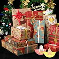 Christmas Gift Wrapping Paper 10 Pack, 70x50CM Large Sheets, 9 Designs (Bonus 12 Stickers)