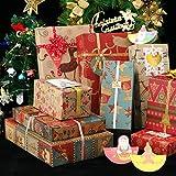 Papel de regalo de Navidad, paquete de 10, 70 x 50 cm, 6 diseños (paquete de 12 pegatinas)