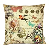 Air Castle- Home Decore- Polyester & Polyester Blend- Vintage bird Cushion Cover best price on Amazon @ Rs. 789