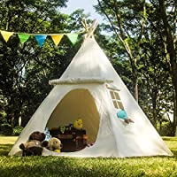 Lavievert Teepee Children Indian Playhouse Cotton Canvas Kids Play Tent for Indoor or Outdoor Play (white)
