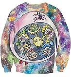 XMDNYE Kirby Nom Nom Sweat À Capuche Rose Personnage Kirby Anime Pokemon PikachuSweat Femmes Hommes 3D Vêtements De Mode Jersey