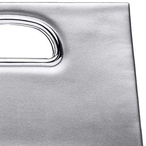 CASPAR TA409 elegante Damen XL Clutch Tasche / Abendtasche / Umhängetasche mit langer Kette Silber