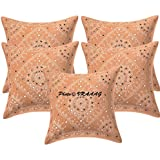 VRAAAG 16x16 Set Of 5 (Set Of 3, 2 And Single Piece Also Available) Peach Cotton Embroidered Mirror Work Indian Rajasthani Traditional Cushion Cover For Home And Gifts