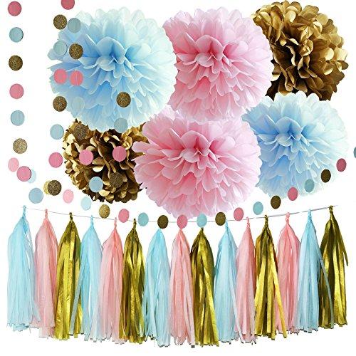 Gender Reveal Party Supplies Jungen oder Mädchen Baby Shower Dekorationen Rosa Blau Gold Seidenpapier Pom Pom Kreis Garland Quaste Garland Geschlecht Reveal Party Dekorationen