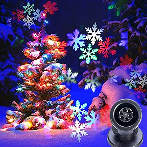 LED Christmas Projector Garden Lights,KINGCOO Waterproof 2 in 1 LED Snowflake Dynamic Starry Landscape Spotlight Projector Light for Indoor/Outdoor,Holiday Party Wall Decoration